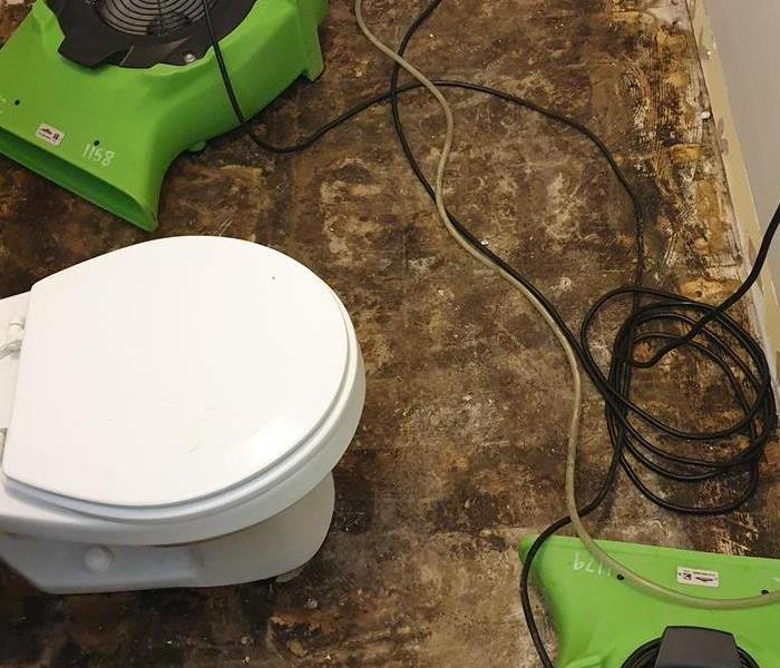 Two green air movers next to a white toilet.