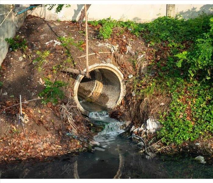 Sewer release wastewater into river